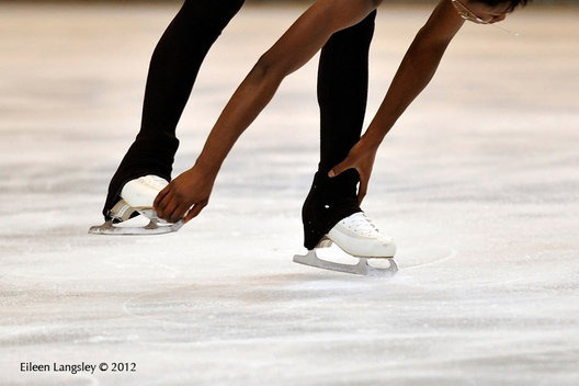 A generic image of the boot and blade of a skater practising a spin in practice at the 2012 ISU Grand Prix Trophy Eric Bompard at the Palais Omnisports Bercy. Paris France November 16th to 18th