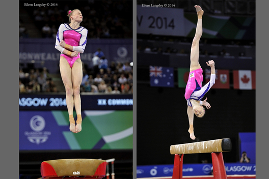 Georgia Rose Brown (Australia) competing on Vault and Beam at the Gymnastics competition of the 2014 Glasgow Commonwealth Games.