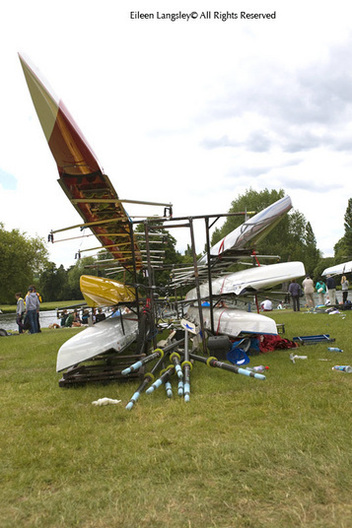 An image of boats and sculls on a rack at the 2010 Women's Henley Regattai.