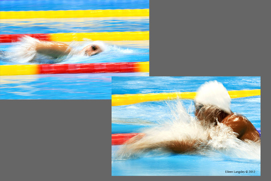 A blurred motion image of a swimmer competing in the London 2012 Paralympic Games.