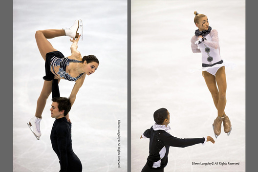 A double image of Pairs skaters demonstrating lifts and throws with Jessica Dube and Bryce Davison (Canada) on the left and Aliona Savchenko and Robin Szolkowy (Germany) on the right at the 2010 Vancouver Winter Olympic Games.