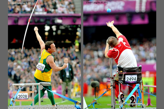Damian Bowen (Australia) competing in the Men's javelin F33/34 (left) and Agar Apinis (Latvia) competing in the Men's Shot Put F52/53 (right) event during the Athletics competition of the London 2102 Paralympic Games.