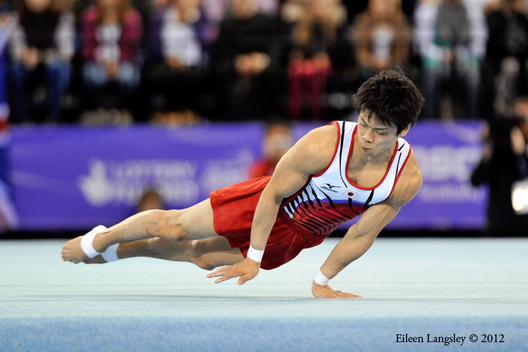Yusuke Saito (Japan) competing on Floor Exercise at the 2012 FIG World Cup in the Emirates Arena