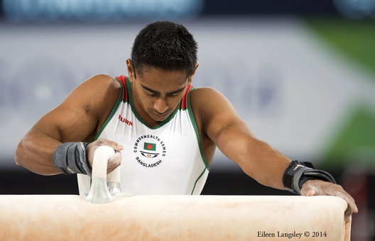 Syque Quazi Caesar (Bangladesh) concentrates before competing on Pommel Horse at the 2014 Glasgow Commonwealth Games.
