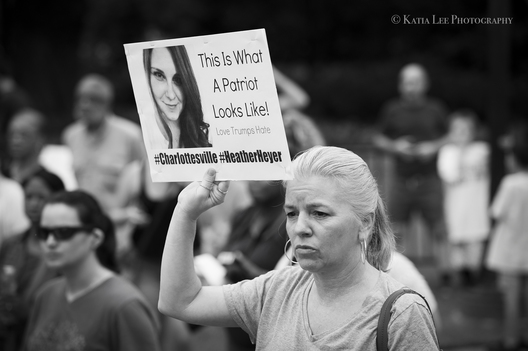 """Columbia Stands with Charlottesville.""  After the events in Charlottesville in which Heather Heyer was murdered after a ""Unite the Right"" rally, more than 200 people gathered in solidarity  at the State House grounds.   August 14, 2017"