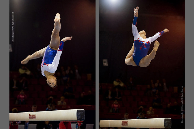 A double image of Rebecca Downie (Great Britain) competing on the Balance beam at the 2009 Glasgpw Grand prix.