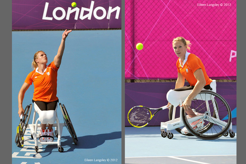 Esther Vergeer (Netherlands) in action during the women's single event at the wheelchair tennis competition of the London 2012 Paralympic Games.