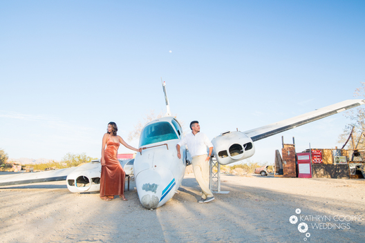 Adventure session in Indio, California wedding photography at abandoned plane