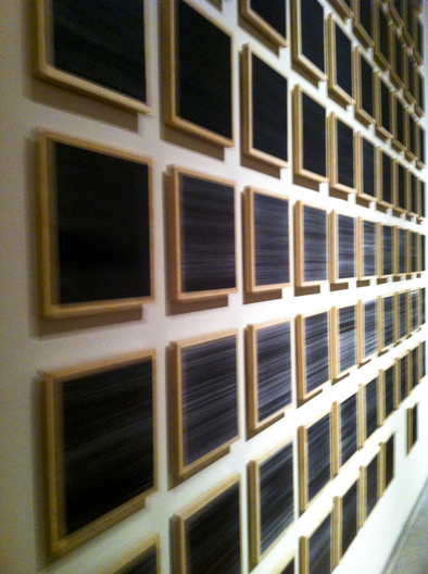 100 graphite on paper drawings, on wood panels