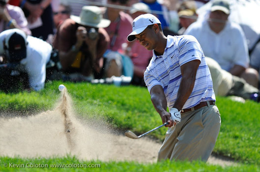 14 August 2009: Tiger Woods exits a sand trap and onto the green during the second round of the 91st PGA Championship at Hazeltine National Golf Club on August 14, 2009 in Chaska, Minnesota.