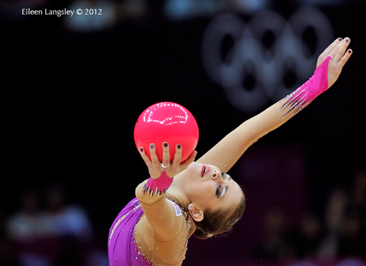 Frankie Jones (Great Britain) competing with ball and hoop during the Rhythmic Gymnastics competition at the 2012 London Olympic Games.