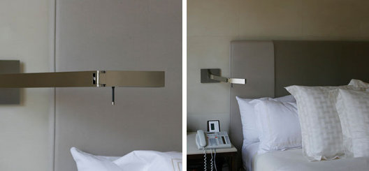 Custom adjustable bedside reading lamps, brushed solid brass with brushed nickel plated finish