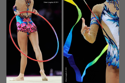 Generic images of Ulyana Trofimova (Uzbekhistan) competing with Hoop and Ribbon at the World Rhythmic Gymnastics Championships in Montpellier.