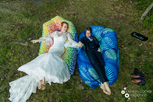 maine lgbtq wedding photography of two brides in KOA Woodlands Acadia National Park