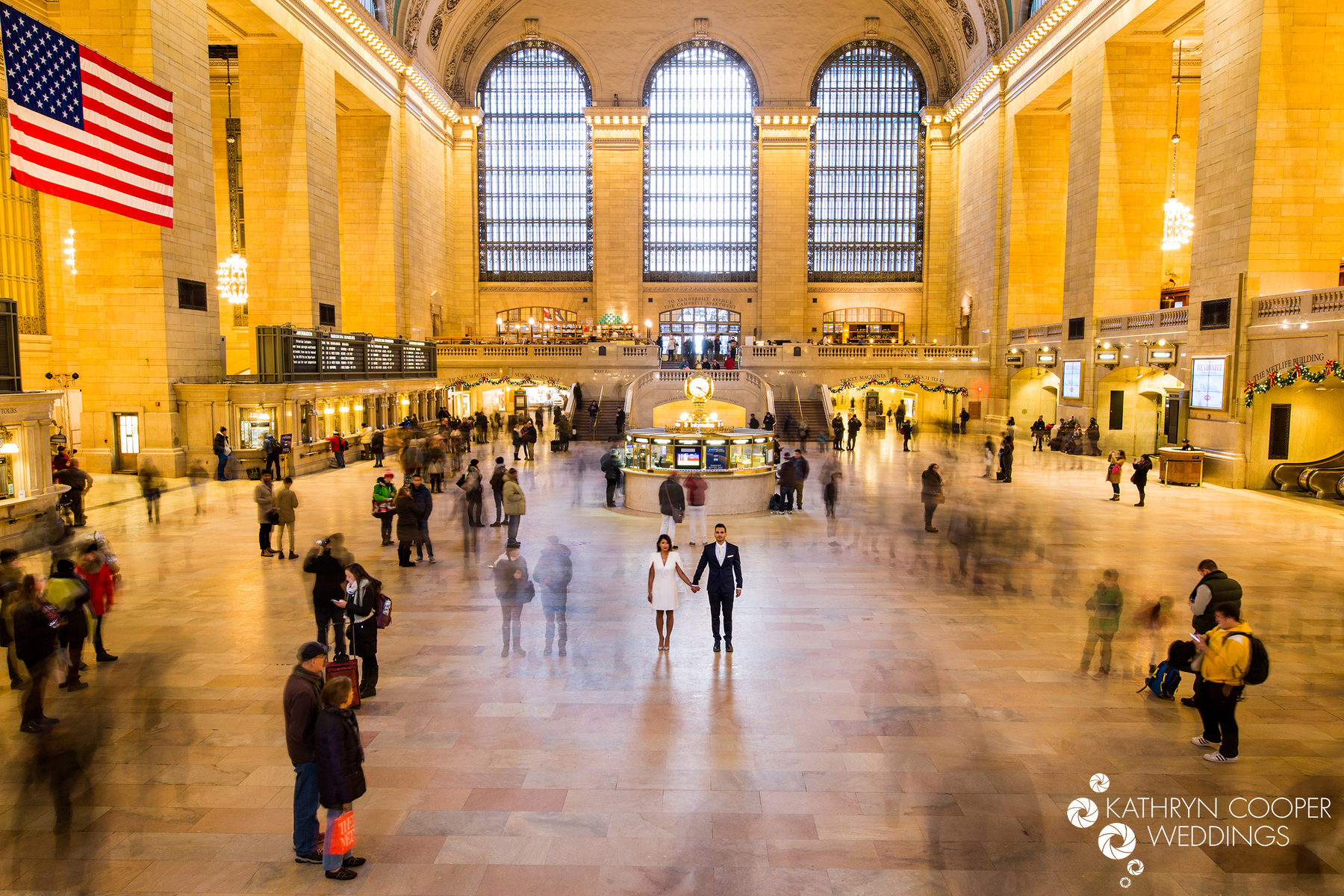 Grand Central wedding photos couple standing motion blur Kathryn Cooper Weddings