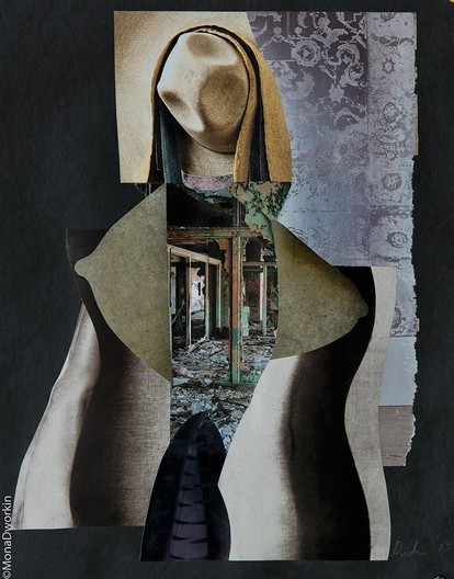 "Mixed Media Collage, 15"" x 12"", 2019, $455. This unique mixed media collage depicts  a woman at the crossroad of her life.  Madonna 