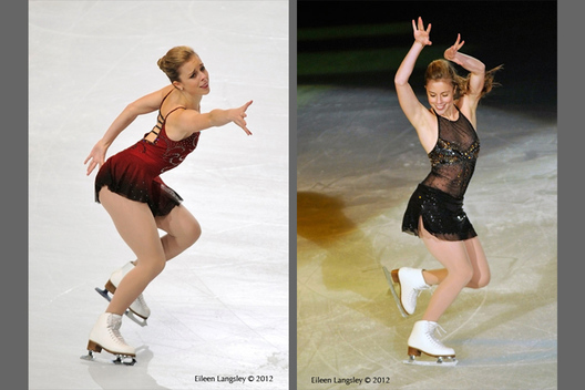 Ashley Wagner (USA) winner of the gold medal competing n the short programme (left) and performing in the Exhibition Gala (right) at the 2012 ISU Grand Prix Trophy Eric Bompard at the Palais Omnisports Bercy