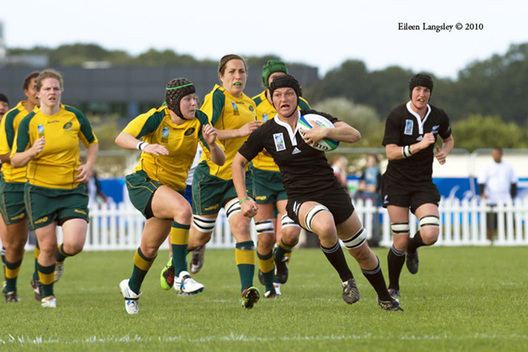 Action from the New Zealand versus Australia match at the 2010 Women's World Cup Rugby at Surrey Sports Park August 24th.