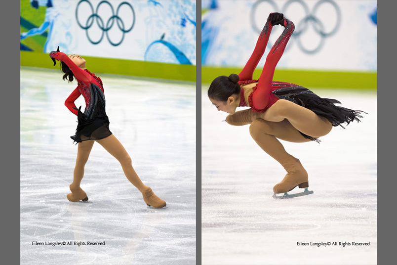 A double image of Mao Asada (Japan) performing her Free Programme at the 2010 Vancouver Winter Olympic Games and with the Olympic Rings in the background.