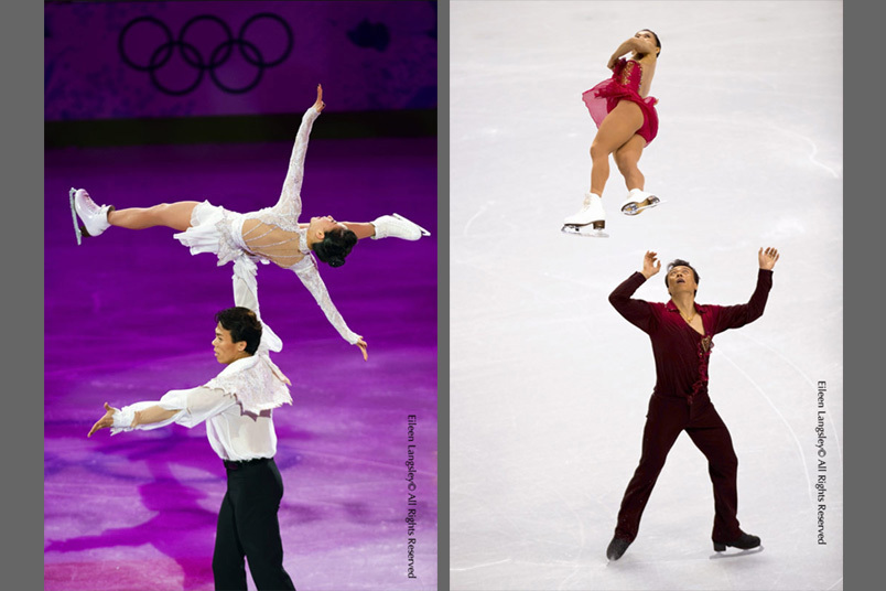 A double image of Pairs Gold Medallists Xue Shen and Hongboa Zhao (China) illustrating their skill in lifts and throws in the Exhibition (left) and during their Free Programme (right) at the 2010 Winter Olympic Games in Vancouver.