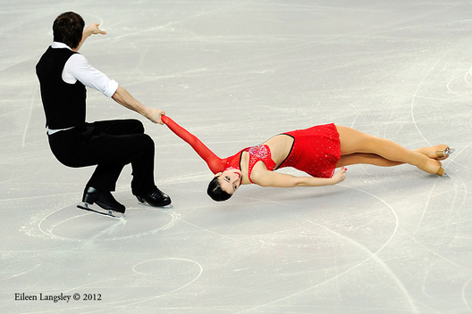 Stefania Berton and Ondrej Hotarek (italy) competing in the Pairs event at the 2012 European Figure Skating Championships at the Motorpoint Arena in Sheffield UK January 23rd to 29th.