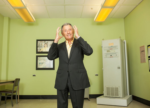 Leonard Kleinrock photographed in the room that was the 'Birthplace of the Internet', Boelter Hall, UCLA, Los Angeles.