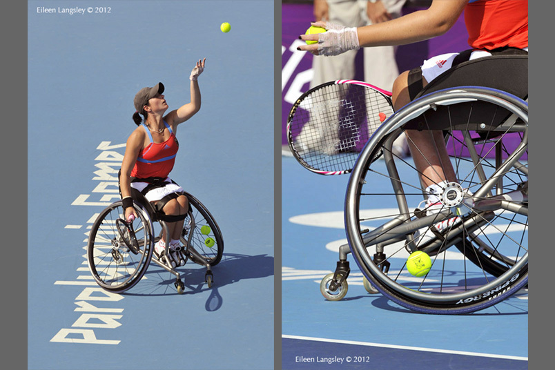 Katharina Kruger (Germany) playing in the singles event in the women's wheelchair Tennis competition at the 2012 London Paralympic Games.