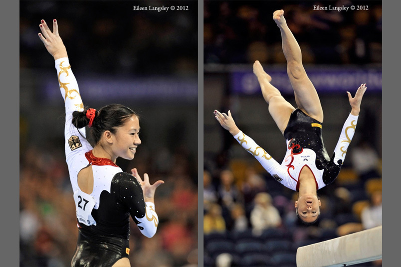 Kim Bui (Germany) competing on Floor Exercise at the 2012 FIG World Cup in the Emirates Arena Glasgow December 8th