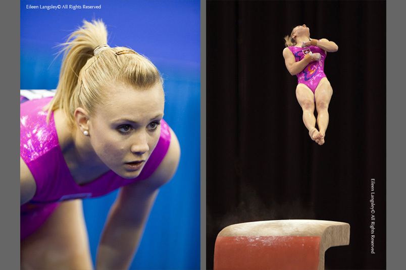 Ariella Kaeslin (Switzerland) competes on vault at the 2010 European Gymnastics Championships in Birmingham.