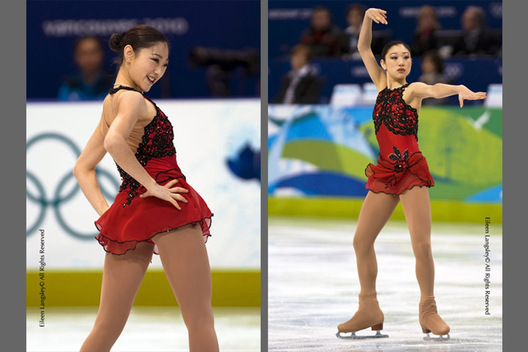 A double image of Mirai Nagasu (USA) during her free programme at the 2010 Vancouver Winter Olympic Games