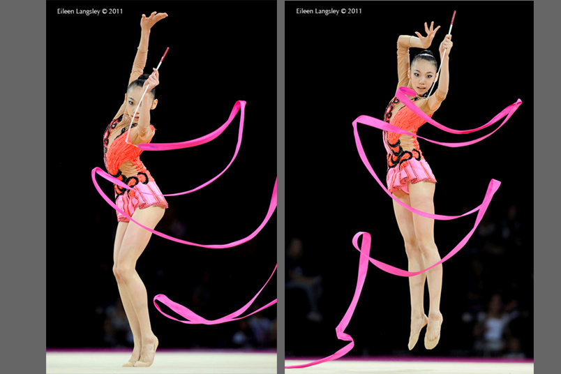 Peng Linyi (China) competing with Ribbon at the World Rhythmic Gymnastics Championships in Montpellier.