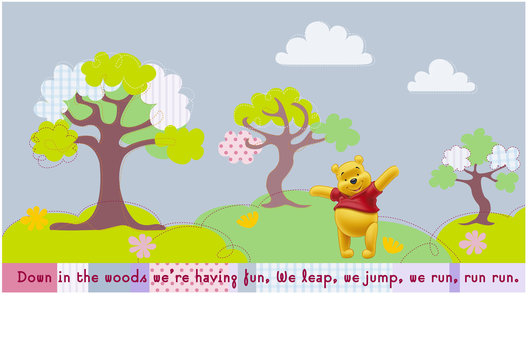 Surface design for a large range of Winnie the Pooh gift packaging and paper goods for young children.