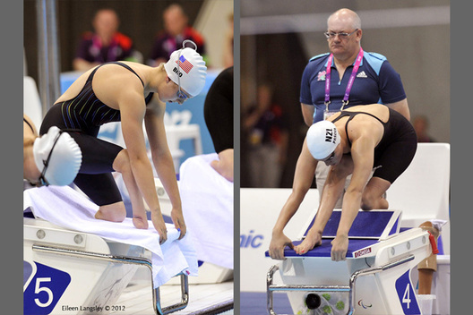 Morgan Bird (USA) left and Sophie Pascoe (New Zealand) right, on the starting block during the swimming competition at the London 2012 Paralympic Games.