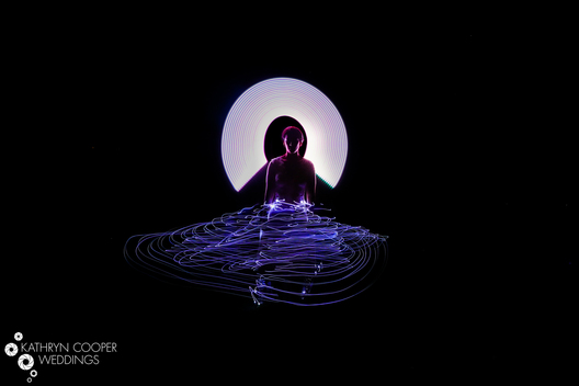 Bride glow in the dark lights for long exposure creative wedding photo in New York