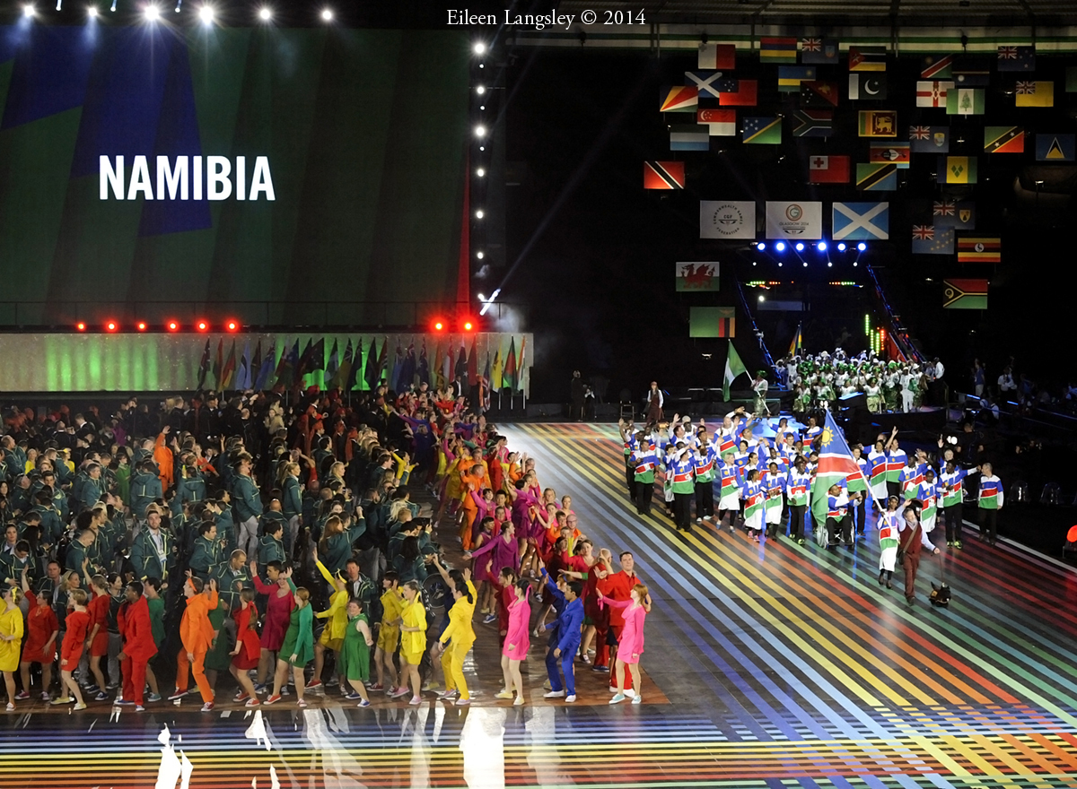 The team from Namibia at the Opening Ceremony at the 2014 Glasgow Commonwealth Games .