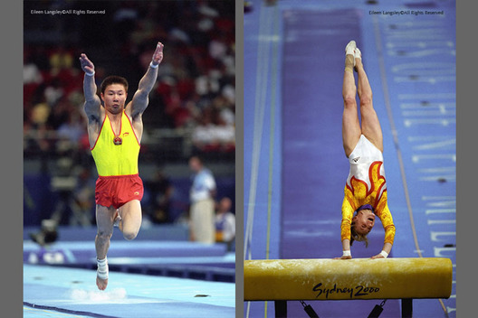 A double image of gymnasts Li Xiaopeng (China) left and Simona Amanar (Romania) right, competing in their respective Vault finals at the Sydney 2000 Olympic Games.
