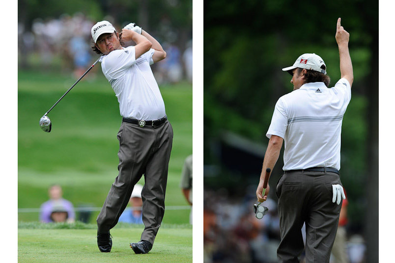 15 August 2009: Tim Clark celebrates after sinking a putt during the third round of the 91st PGA Championship at Hazeltine National Golf Club on August 15, 2009 in Chaska, Minnesota.