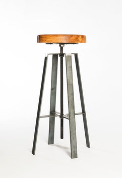 Adjustable height stool made from waxed cold rolled steel bar and turned spalted Pecan top.