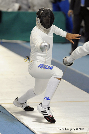 An action image of Enrico Garozzo (Italy) competing in the Men's Epee event at the 2011 European Fencing Championships at the English Institute of Sport Sheffield, July 18th.