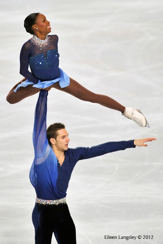 Vanessa James and Morgan Cipres (France) competing in the Pairs competition at the 2012 ISU Grand Prix Trophy Eric Bompard at the Palais Omnisports Bercy