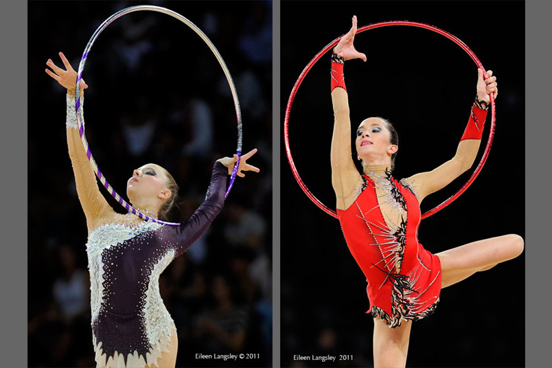 Cropped action images of Melitina Staniouta (Belarus) left and Neta Rivkin (Israel) right, competing with Hoop at the World Rhythmic Gymnastics Championships in Montpellier.