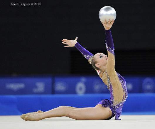 Stephani Sherlock (England) competing with ball during the Rhythmic Gymnastics competitions at the 2014 Glasgow Commonwealth Games.