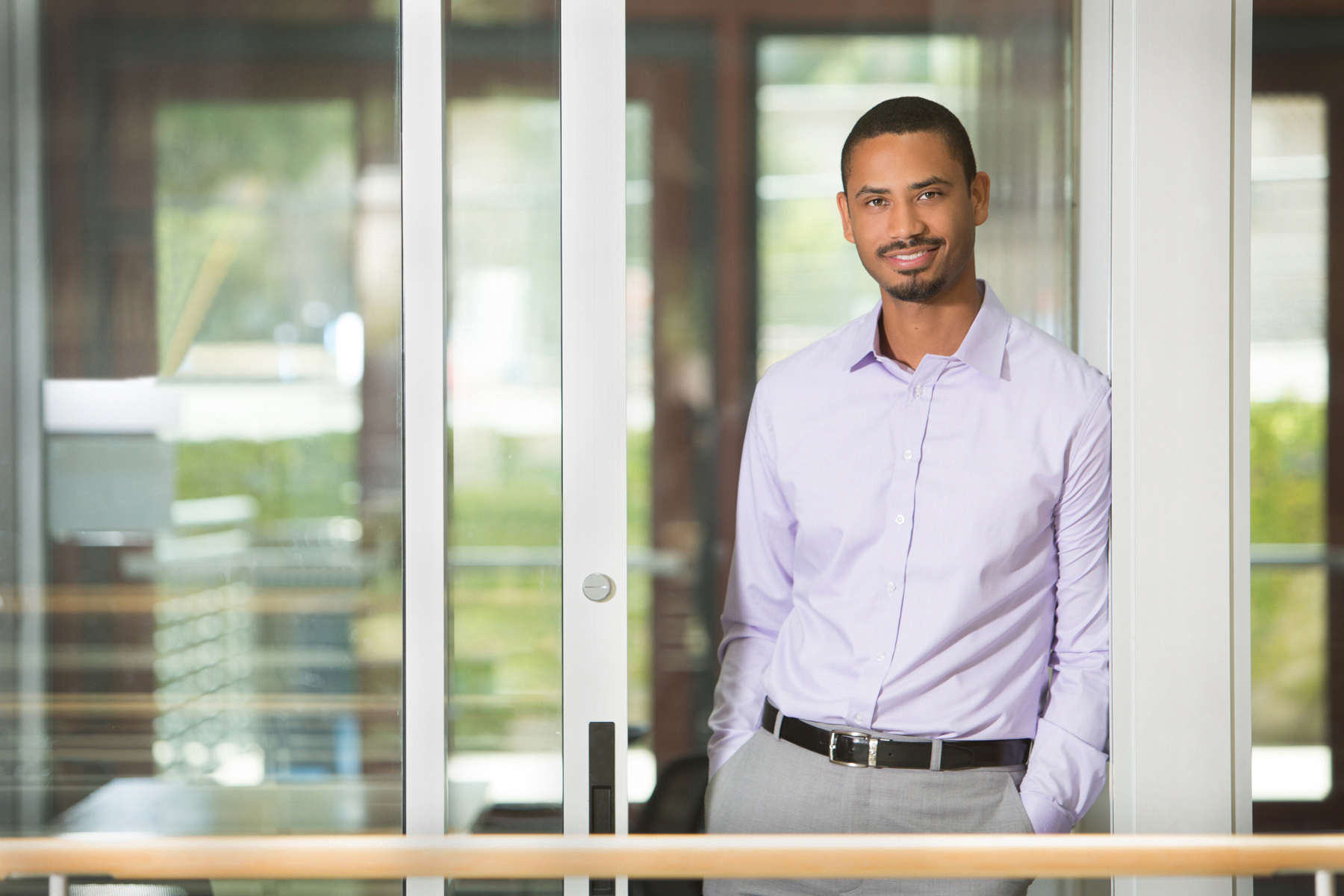 Editorial portrait of male at Stanford School of Engineering by commercial photographer Nancy Rothstein