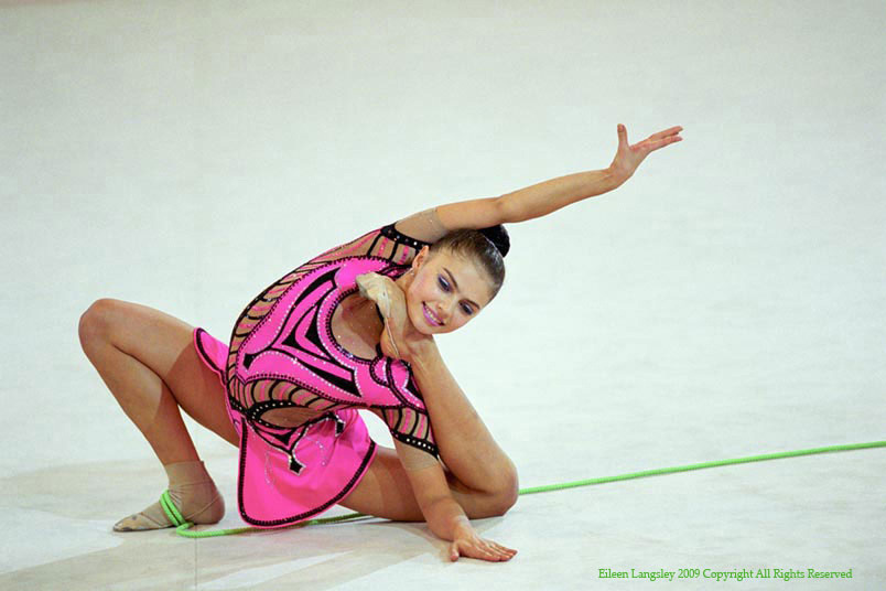 Alina Kabaeva (Russia) competing with the Rope during the 2002 Madrid World Rhythmic Gymnastics Championships.