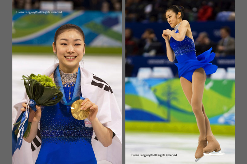 A double image of Korea's Yu Na Kim with her gold medal (left) and performing a difficult triple axel jump (right).