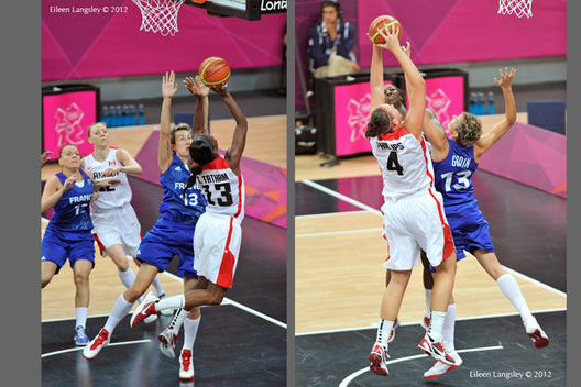 Defensive play by France fails to stop the Canadian attack during their women's Basketball match at the 2012 London Olympic Games.