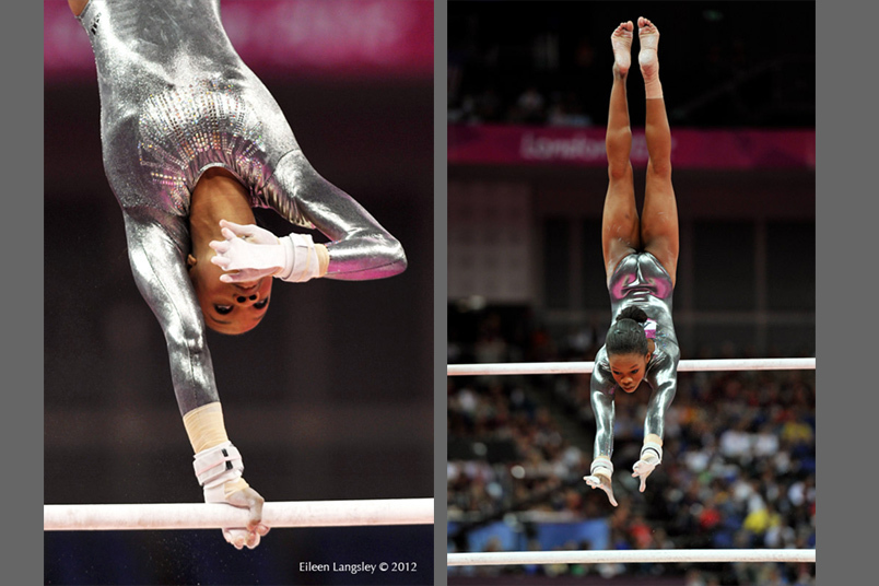 Gabrielle Douglas (USA) winner of the gold medal in the all around competition competing on asymmetric bars at the 2012 London Olympic Games.