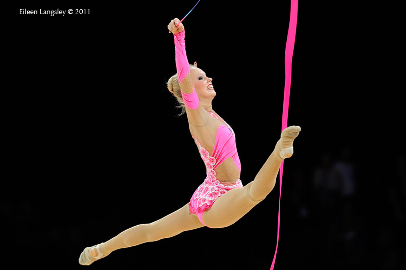 Silja Ahonen (Finland) competing with Ribbon at the World Rhythmic Gymnastics Championships in Montpellier.