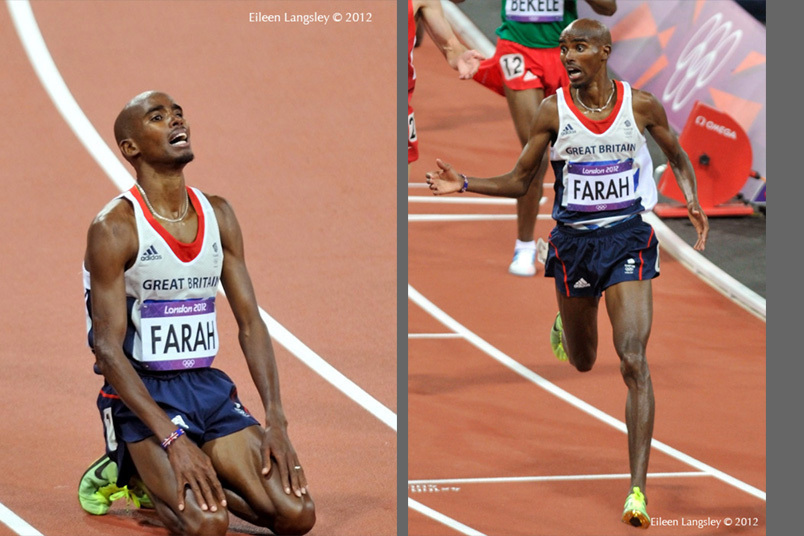 Mo Farrah (Great Britain) wins the 10000 metres at the 2012 London Olympic Games.