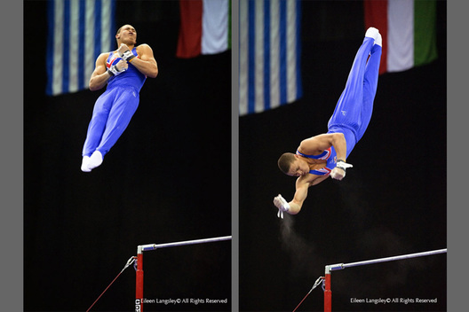 A double image of Reiss Beckford (Great Britain) performing a twisting dismount from the High Bar at the 2010 European Gymnastics Championships in Birmingham.